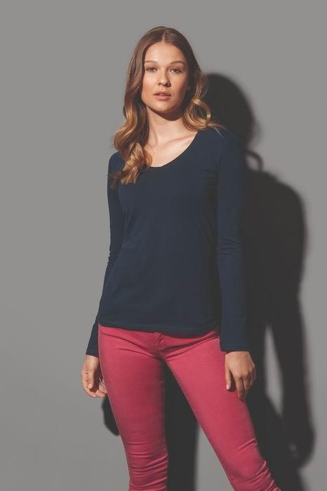 Dámské trièko dl. rukáv CLAIRE V-neck